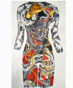"""life sized painting of a female back concept -Hannya, snake and rats 26x40"""" silk dye on paper #rebelreprints #camsupply by mikedorseytattoo https://www.instagram.com/p/BGBSE_OS1NW/"""
