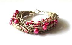 Pearl Linen Bracelet Bridal Bracelet Fuschia Linen by KARUBA