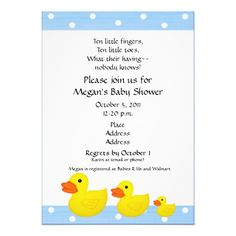 Rubber Duck Themed Baby Shower Invitation
