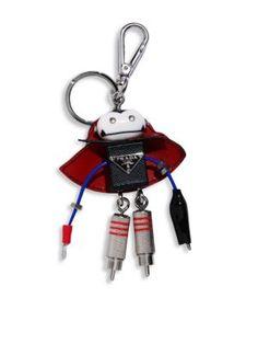 5e1760527d5e03 PRADA Saffiano Leather Robot Keychain. #prada #keychain Prada Saffiano, Key  Chain Rings