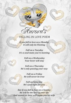 Aurora Angeling's falling in love poem.  What day did you fall in love?  www.myfrightlings.com