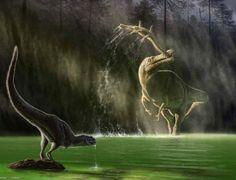 """Este jovem e, supostamente, emplumado """"Abelisauridae"""", chamado """"Kryptops"""" - espécie de dinossauro da família dos ceratossauros terópodes -, é incomodado por um """"Suchomimus"""", que se alimenta de um """"Sarcosuchus"""", enquanto bebe água no seu habitat, no período Cretáceo.  Julius Csotonyi/Reprodução"""