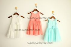 Navy Blue/Coral/Ivory/Mint Blue Chiffon Flower Girl by autoalive