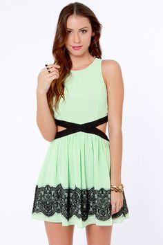 Double Duchess Mint Green Lace Dress at Lulus.com!