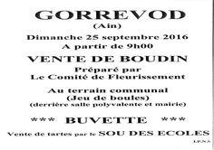 Boudin et tartes le 25 septembre à Gorrevod.
