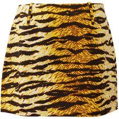 Dolce Gabbana D&G Animal Print Mini Skirt (£110) ❤ liked on Polyvore featuring skirts, mini skirts, animal print skirt, brown skirt, cotton skirts and brown mini skirt