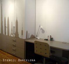 Armario pintado por #stencilbarcelona