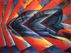 """Luigi Russolo, """"Dynamisme d'une voiturer"""" (1912 - 1913)  Couleur rouge vive contraste avec l'automobile noire et bleue"""
