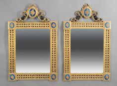 Stunning pair of Louis XVI-Style Gilt Bronze, Bleu Enamel Mirrors.