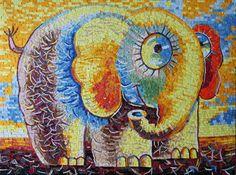 Mosaic Crafts, Mosaic Art, Mosaic Projects, Easy Elephant Drawing, Mediums Of Art, Mosaic Animals, Indie Art, Mini Canvas Art, Sun Art