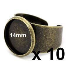10 supports bagues bronze pour cabochon ou fimo 14mm