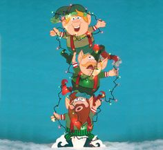 Christmas Tangled Trio Of Elves With Lights Outdoor Wood Yard Art, Christmas…