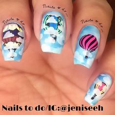 Flying for #clairestelle8mar , sorry I'm late, busy weekend. The hot air balloons are from plate 7-02 from @uberchicbeauty except for the middle finger, image is from plate DRK seasons @drknails
