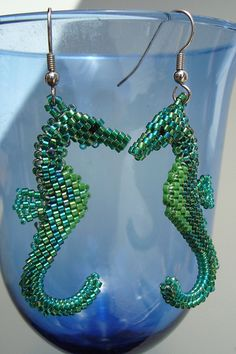 3D Peyote seahorse earrings