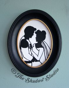 Cinderella and Prince Charming Framed Hand-Cut Paper Silhouette Wedding Portrait by TheShadowStudio