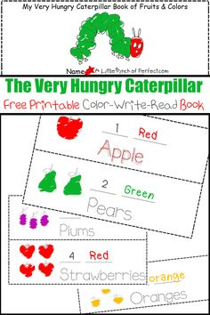 The Very Hungry Caterpillar Printable Color-Write-Read Book | A Little Pinch of Perfect