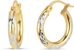 FINE JEWELRY 18K Sterling Silver Gold Over Silver Hoop Earrings