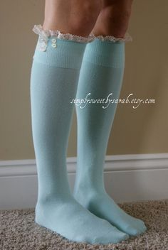 NEW Mint Boot Socks with lace trim & buttons by SimplySweetbySarah Lace Boot Socks, Style Me, Cool Style, Ghd, Japanese Fashion, Everyday Fashion, Lace Trim, Tights, Dress Up