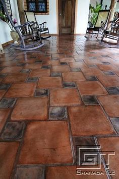 6x12 super saltillo tile with 2x2 talavera decorative for Losetas para pisos interiores