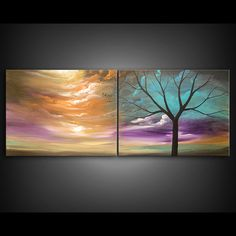 tree painting cloud painting large landscape abstract por mattsart