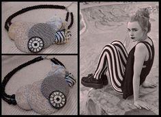 #necklace #handmade #jewelry #fashion #fabricsjewelry #style #accessories #unique #vintage #retro #stripes #clock #pearls #black #white