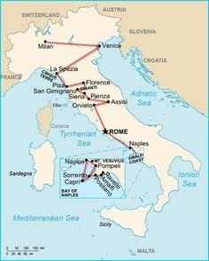 Italy 2-week itinerary with Tuscany map