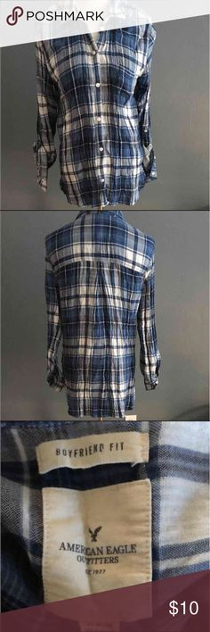 American eagle boyfriend fit plaid shirt This casual fit button up can be worn with leggings, boots and a vest for a cute winter/spring outfit. Very soft and comfortable! American Eagle Outfitters Tops Button Down Shirts