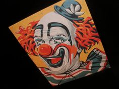 "Vintage CIRCUS CLOWN Paint By Number, Finished Art Picture in 8""x10"" size ~ Cute Clown Fun ~ Ready to Frame"