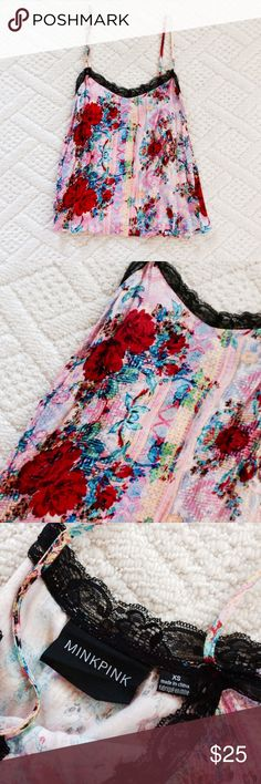 MINKPINK pink multicolor silky cami This is a beautiful Silky feeling Camisole. I have gotten so many compliments on this. It looks beautiful with black jeans or shorts. It also pops against white. MINKPINK Tops Camisoles