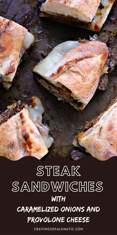 These easy steak sandwiches are made with grilled steak, caramelized onions, provolone cheese, all stacked perfectly on a French baguette. They will be a hit with everyone who tries them. #steak #beef #sandwich #lunch #dinner