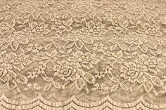 Stone Scalloped Lace Fabric by the Yard Wedding by LaceFabrics, $12.00