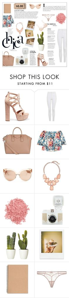 """""""Chica"""" by citlalisanchezd ❤ liked on Polyvore featuring Aquazzura, Topshop, Givenchy, Elizabeth and James, Linda Farrow, Kendra Scott, TheBalm, Band of Outsiders, Polaroid and Agent Provocateur"""