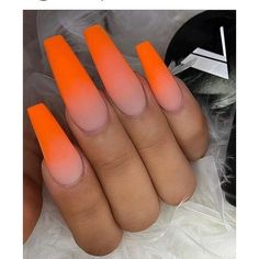 Want some ideas for wedding nail polish designs? This article is a collection of our favorite nail polish designs for your special day. Read for inspiration Bright Orange Nails, Orange Ombre Nails, Orange Acrylic Nails, Bright Summer Acrylic Nails, Cute Acrylic Nails, Neon Nails, Acrylic Nail Designs, My Nails, Heart Nails
