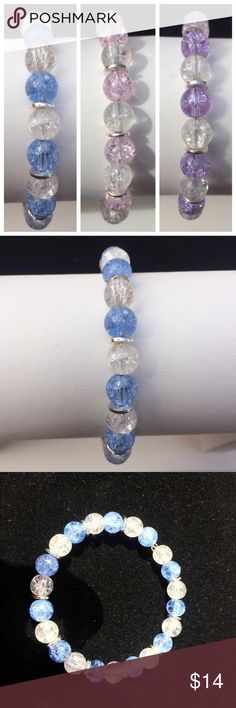 Choice of Crackle Glass Bracelets Handmade and designed by me. Choice of Blue and Clear, Pink and clear, or purple and clear Crackle Glass 8mm beads and silver plated discs on a silver memory wire. Jewelry Bracelets