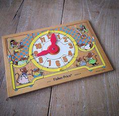 Puzzle horloge vintage Fisher Price de 1982. Retrouvez toutes mes ventes sur Instagram : @vintage_charly