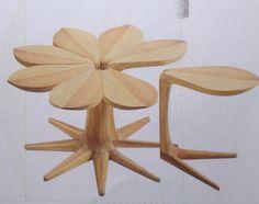 """Bijzettafeltjes: """"Mei-kus"""" Gebaseerd op:  """"Ze houdt van me, ze houdt niet van me"""" (Madeliefje) Www. Vogeldesign.co.za  en www.greenlightshop.ca"""