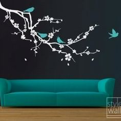 Cherry blossom and birds decal, I wonder how it would be if I painted this on my dining room table...?