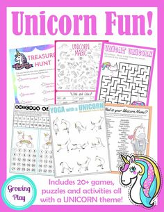 Unicorn Games Activities and Puzzles - AWESOME fun packet for birthday parties, rainy days and indoor play! Just print and get your Unicorn party started. Beach Party Games, Birthday Party Games, Unicorn Birthday Parties, Sleepover Party, 8th Birthday, Birthday Ideas, 21st Party, Pin The Horn On The Unicorn, Pyjamas Party