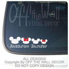 Mickey & Minnie Hat Family Vinyl Car Decal by OffTheWallVinylDecor, $9.99