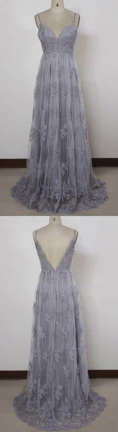 Lace Prom Dresses, A-line V-neck Party Dress, Tulle Sweep Train Long Formal Dresses