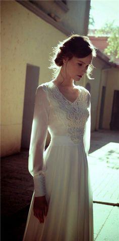 long sleeves wedding gown