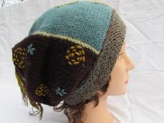 Handmade natural wool fiber hand knitted hat/cap by frugalfibers