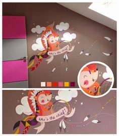 peinture murale décorative chambre d'enfant Renard grand chef indien