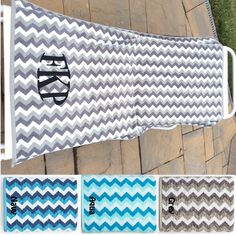 """LARGE Heavy thick thirsty CHEVRON towel Personalized with Monogram 30"""" x 54"""" by CACBaskets on Etsy Oversized Beach Towels, Chevron, Monogram, Trending Outfits, Unique Jewelry, Handmade Gifts, Wedding, Vintage, Etsy"""