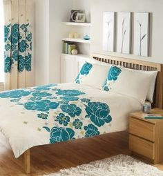 CREAM TEAL & LIME DOUBLE DUVET COVER BED SET: Amazon.co.uk: Kitchen & Home