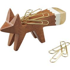 gold tip fox paper clip holder