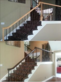 Click here to see what your golden oak handrail can look like. http://www.rekindledspaces.com