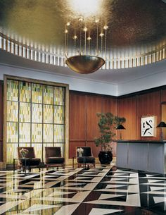 The Peninsula Chicagoe - Sophisticated lobby done by BAMO Peninsula Chicago, Conference Room, Interior Design, Table, Projects, Furniture, Lighting, Home Decor, Nest Design