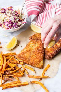 Panko Crusted Barramundi with Sweet Potato Oven Fries and Vinegar Slaw | Australis Barramundi - The Sustainable Seabass®