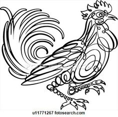 Calligraphic Design of a rooster View Large Clip Art Graphic
